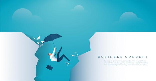 De zakenman valt in het faillissement van de afgrondcrisis