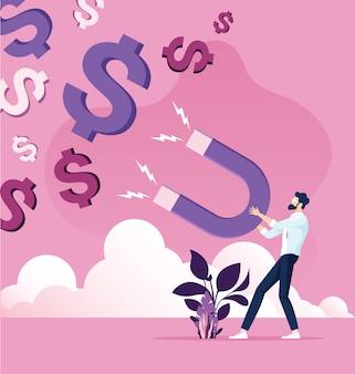 De zakenman vangt dollars met geldmagneet