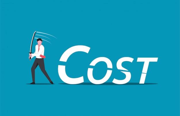 De zakenman verlaagt de woordkosten.