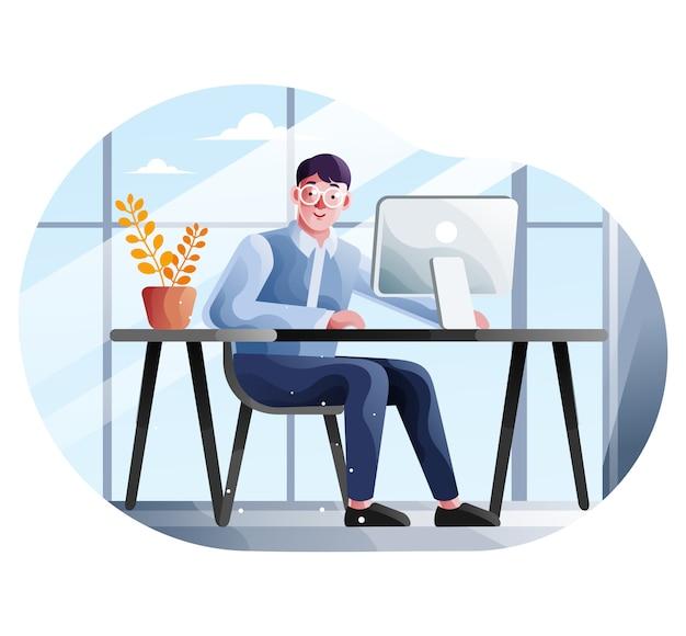 De zakenman werkt in zijn bureau met een computer