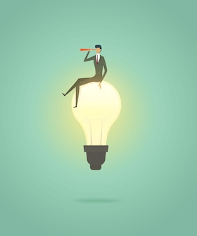 De zakenman zit op oplossing van het lightbulb de creatieve concept en met telescoop ziet visie
