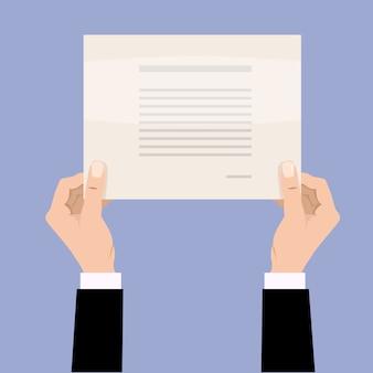 De zakenmanhanden die van het beeldverhaal leeg leeg document houden.