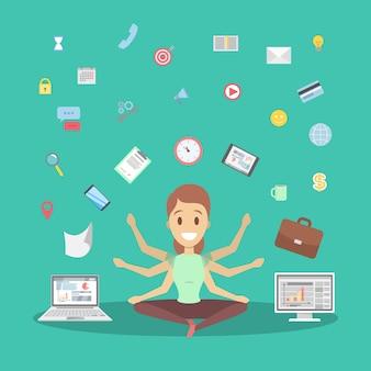 De zakenvrouw van shiva in lotus stelt pauze op het werk en mediteert. gelukkig multitasking kantoormedewerker met veel handen. geïsoleerde platte vectorillustratie