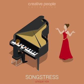 De zanger van de zangeres solo vrouw zingt aan de isometrische vectorillustratie van de grote pianobegeleiding.
