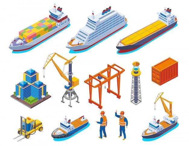 De zeehaven kleurde isometrisch die pictogram met de geïsoleerde schepen en de arbeidersillustratie van botenkranen wordt geplaatst