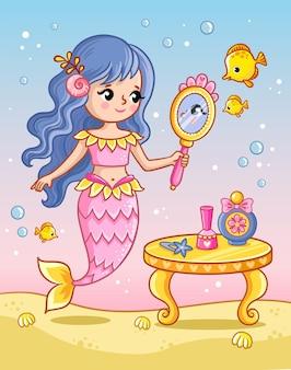 De zeemeermin kijkt in de spiegel bij de tafel tussen de vissen onder water