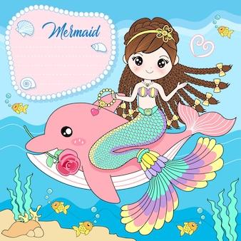 De zeemeermin zit op een roze dolfijn