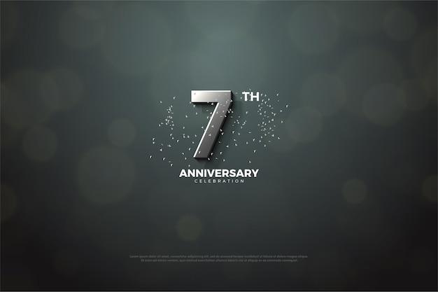 De zevende verjaardag achtergrond met zilveren cijfers