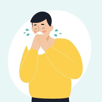 De zieke man heeft een loopneus die niest het concept van zieke mensen koorts