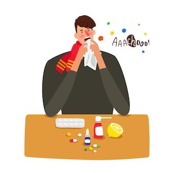 De zieke mens niest met griep die op wit wordt geïsoleerd