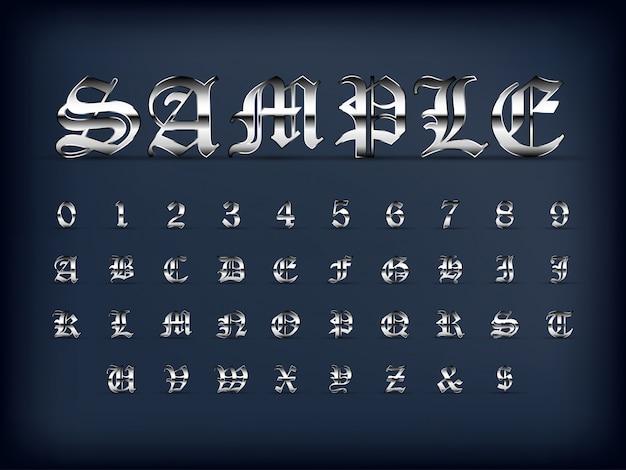 De zilveren oude engelse reeks en de cijfers van het alfabetletter op zwarte kleur
