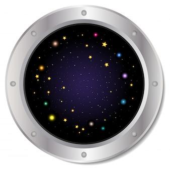De zilveren patrijspoort van het ruimteschipvenster met ster aan de ruimtehemel.
