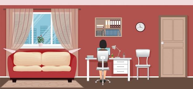 De zitting van de bedrijfsvrouwenwerknemer op werkende plaats thuis.