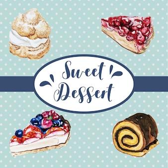 De zoete illustratie van de dessert vastgestelde waterverf
