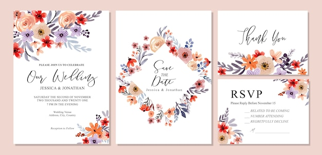 De zoete oranje en paarse bloemen uitnodiging rsvp van het huwelijk van de waterverf