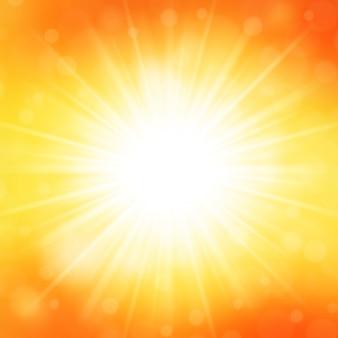 De zomer achtergrondhemel en zonlicht met de vectorillustratie van de lensgloed.
