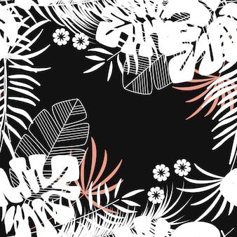 De zomer naadloos tropisch patroon met monsterapalmbladen en installaties op donkere achtergrond