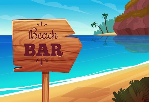 De zomerachtergrond met houten uithangbord op het strand