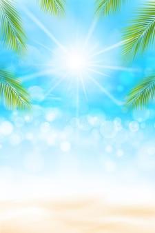 De zomerachtergrond met ligting effect zandstrand