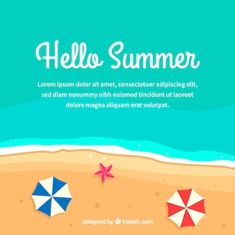 De zomerachtergrond met strandparaplu's