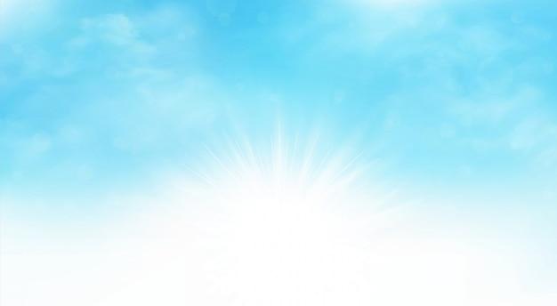 De zomerachtergrond van kunstwerk van de zonnestraal het blauwe hemel brede scène.