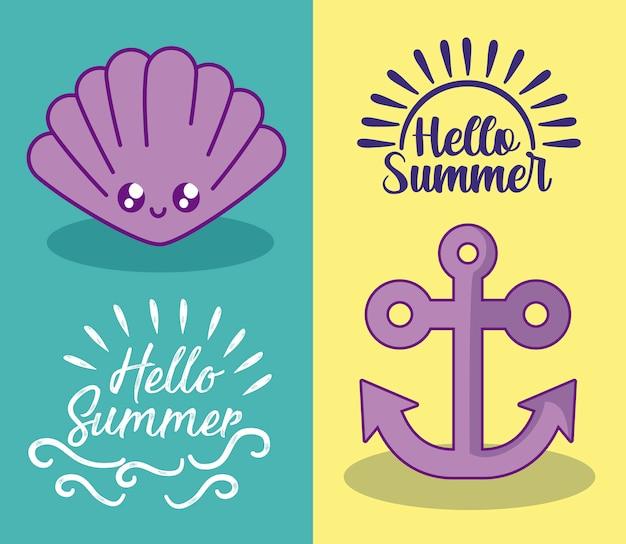 De zomerillustratie met anker en zeeschelpkawaii