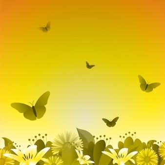 De zomerlente bloeiende bloemaard op gouden geel