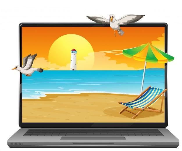 De zomerscène op computerdesktop