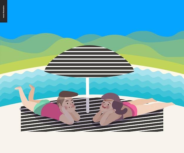 De zomerscène van het strand met een landschap
