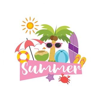 De zomervakantie in vectorillustratie wordt geplaatst die