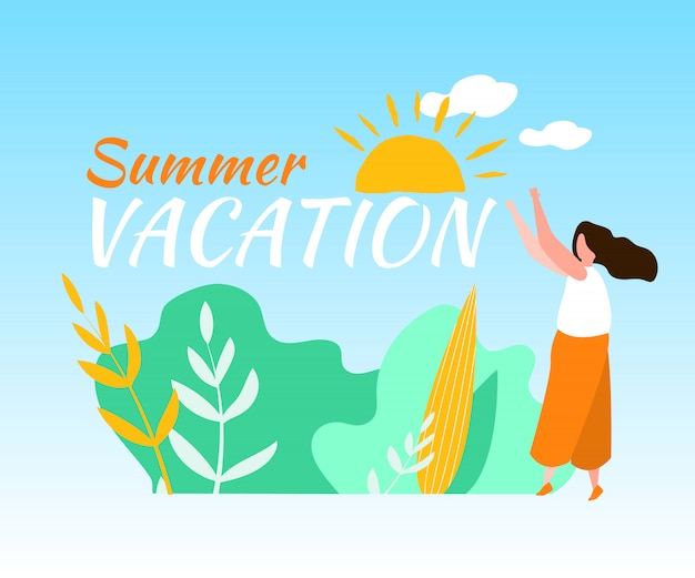 De zomervakantievrouw in openlucht zon glanst blauwe hemel