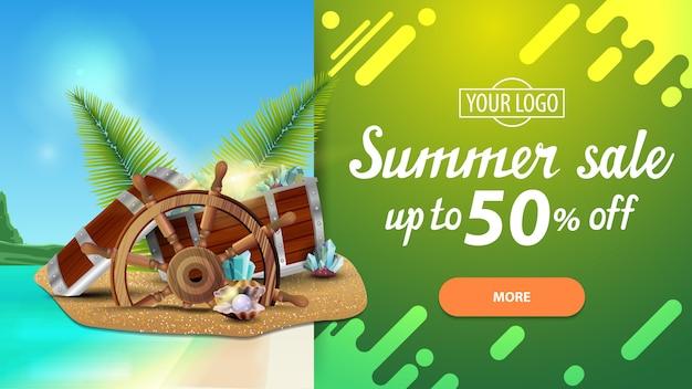 De zomerverkoop, horizontale kortingsbanner met mooi landschap, modern ontwerp