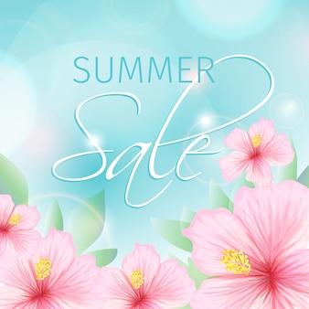 De zomerverkoop met roze hibiscusillustratie
