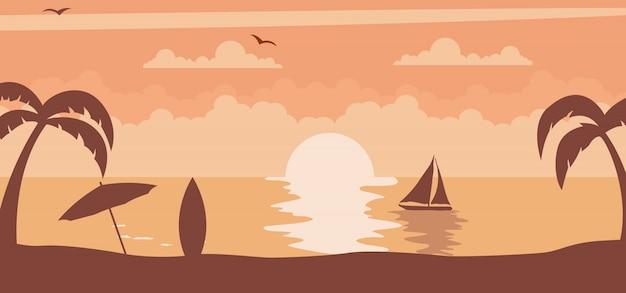 De zomerzonsondergang met zon op het strand