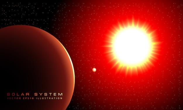 De zon schijnt en de planeten draaien rond.