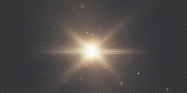 De zon schijnt felle lichtstralen met realistische schittering christmas light star goud.