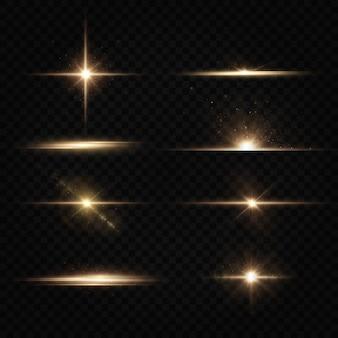 De zon schijnt felle lichtstralen met realistische schittering. lichte ster transparante zwarte achtergrond.