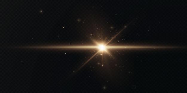 De zon schijnt felle lichtstralen met realistische schittering