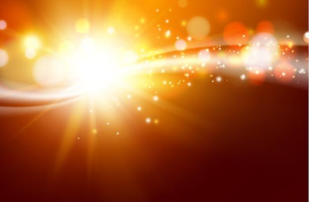 De zon schittert over de donkere ruimte.