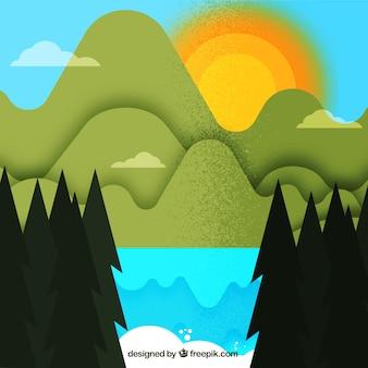 De zon verschuilt zich achter de bergen