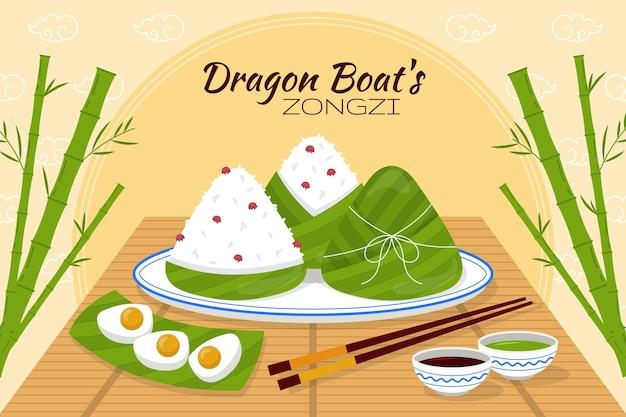 De zongzi-achtergrond van de organische platte drakenboot
