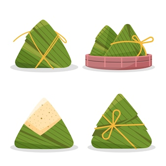 De zongzi-collectie van flat dragon boat