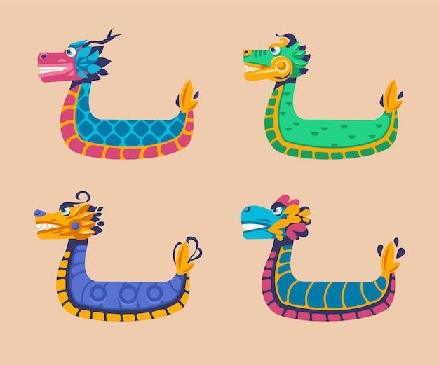 De zongzi-collectie van flat dragon boat Gratis Vector