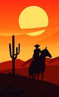 De zonsondergangscène van het wilde westen met cowboy in paard en cactus