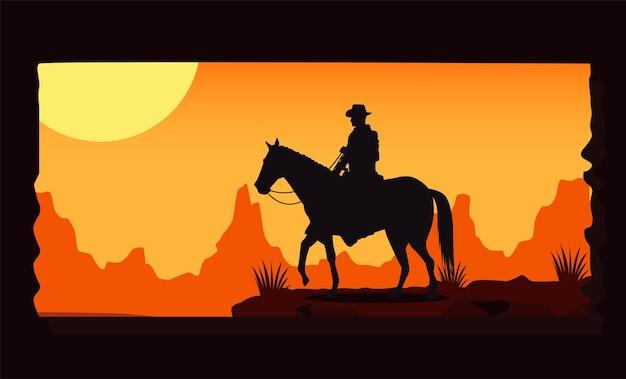 De zonsondergangscène van het wilde westen met cowboy in paard