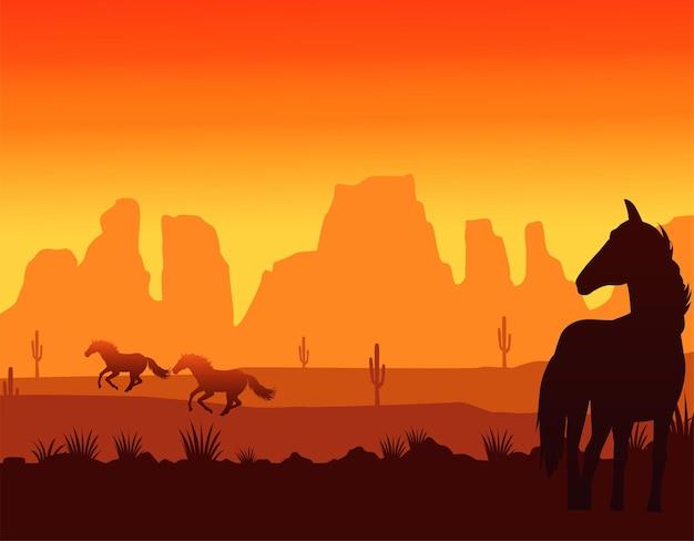 De zonsondergangscène van het wilde westen met het rennen van paarden