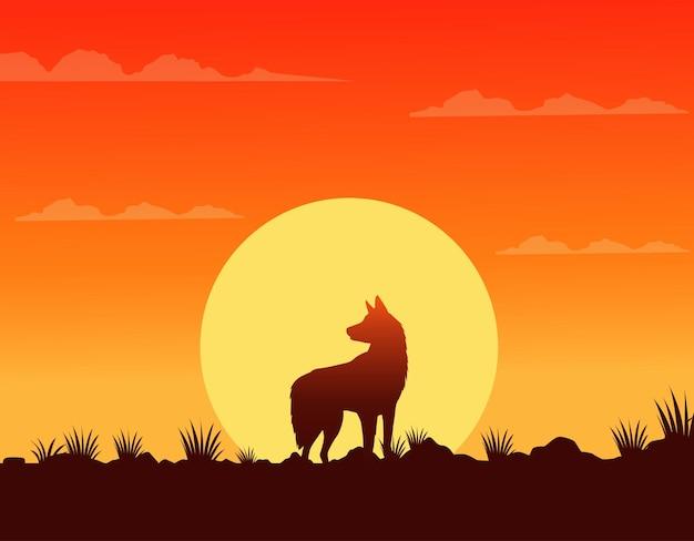 De zonsondergangscène van het wilde westen met hond