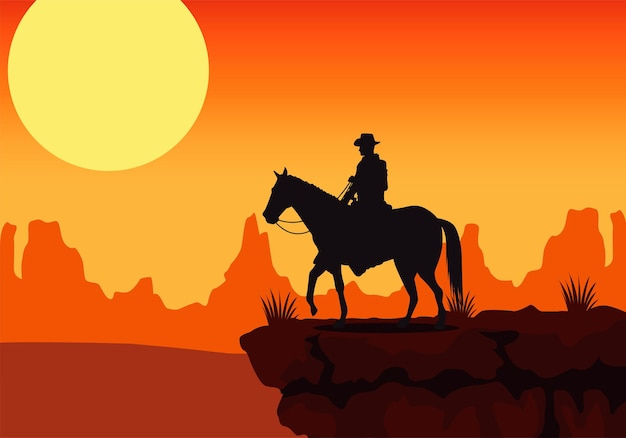 De zonsondergangscène van het wilde westen met paard en cowboy in de woestijn