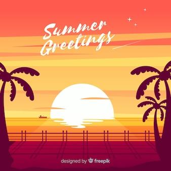 De zonsondergangzonsopgang van het strand met palmsilhouet