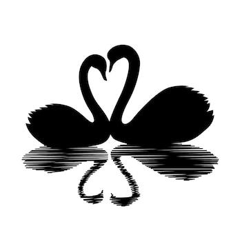 De zwaansilhouet en bezinning van het paar
